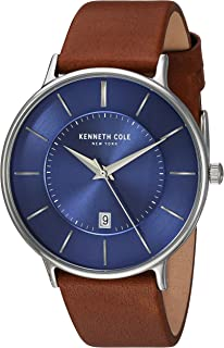Kenneth Cole New York Men's Analog Quartz Watch With Leather Strap Kc15097001, Brown Band