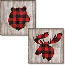 Gango Home Décor Beautiful Red and Black Flannel Pattern Bear and Elk Silhouettes on Faux Wood Background; Lodge Decor; Two 12x12in Paper Prints (Printed on Paper, Not Wood)