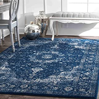 nuLOOM RZBD07C Verona Vintage Persian Area Rug, 12' x 15', Dark Blue