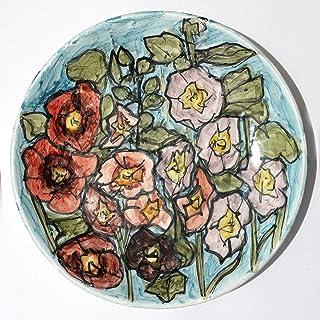 Malva, flores - Plato de cerámica hecho a mano, dimensiones diámetro cm 26,3 Altura cm 3,8. Hecho en Italia, Toscana, Lucca. Creado por Davide Pacini.