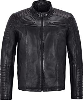 Men's Real Leather Real Jacket Black Napa Biker Quilted Shoulder Style 1418-Z