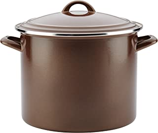 Ayesha Curry Enamel on Steel Stock Pot/Stockpot with Lid, 12 Quart, Brown Sugar