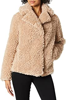 معطف Kensie نسائي قصير من الفرو الصناعي بياقة كبيرة وفتحة صدر جلدية