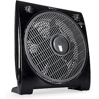 TECVANCE TV-0481 Ventilador de Caja – Box Fan-Extra Silencioso y Potente-4 Velocidades – Temporizador – 32cm Diámetro, Negro, 44 x 39,4 x 16,4 cm: Amazon.es: Hogar
