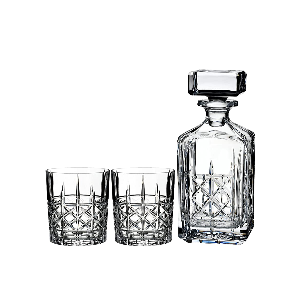 語直感パイプラインMarquis by Waterford Brady Decanter Set with Two Double Old Fashioned Glasses by Waterford