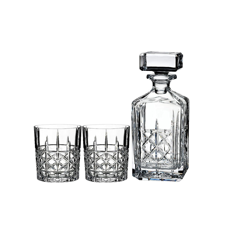 パラメータ白い悪のMarquis by Waterford Brady Decanter Set with Two Double Old Fashioned Glasses by Waterford