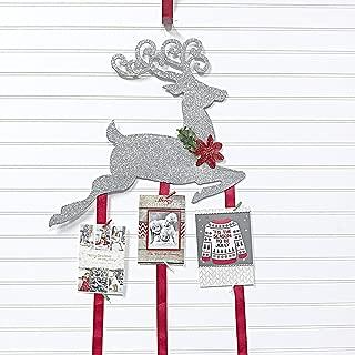 Christmas Card Holder - Reindeer (Silver Glitter)