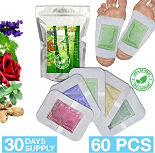 Bamboo Vinegar Foot Pads 2in1 Cleanse Foot Pads, 30 Days Treatment, 60 Foot Patches, Relief Stress & Pain, Improve Sleep, All Natural, Auto-Adhesive, Scents: Lavender, Ginger, Rose, Mint, Green Tea