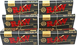 RAW Classic Black 1 1/4 Size Natural Unrefined Ultra Thin 79mm Rolling Papers (6 Packs)