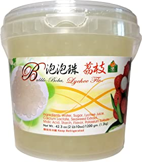 Bolle Popping Boba Pearls Bubble Tea, Ice Cream or Yogurt Topping 42.3 Oz. (Lychee)