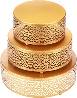 Hotity 3-Piece Cake Stand Set Round Metal Cake Stands Dessert Display Cupcake Stands with Simple Design, Gold