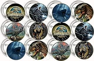 "Jurassic World Park Buttons Party Favors Supplies Decorations Collectible Metal Pinback Buttons Pins, Large 2.25"" -12 pcs Dinosaurs Tyrannosaurus Rex Dinos"