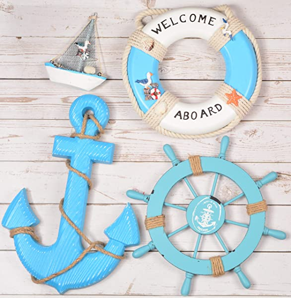 Wooden Nautical Lighthouse Anchor Wall Hanging Ornament Beach Wooden Boat Ship Steering Wheel Wall Decor Nautical Life Ring Wall And Door Hanging Ornament Plaque Welcome Abroad Life Ring Blue