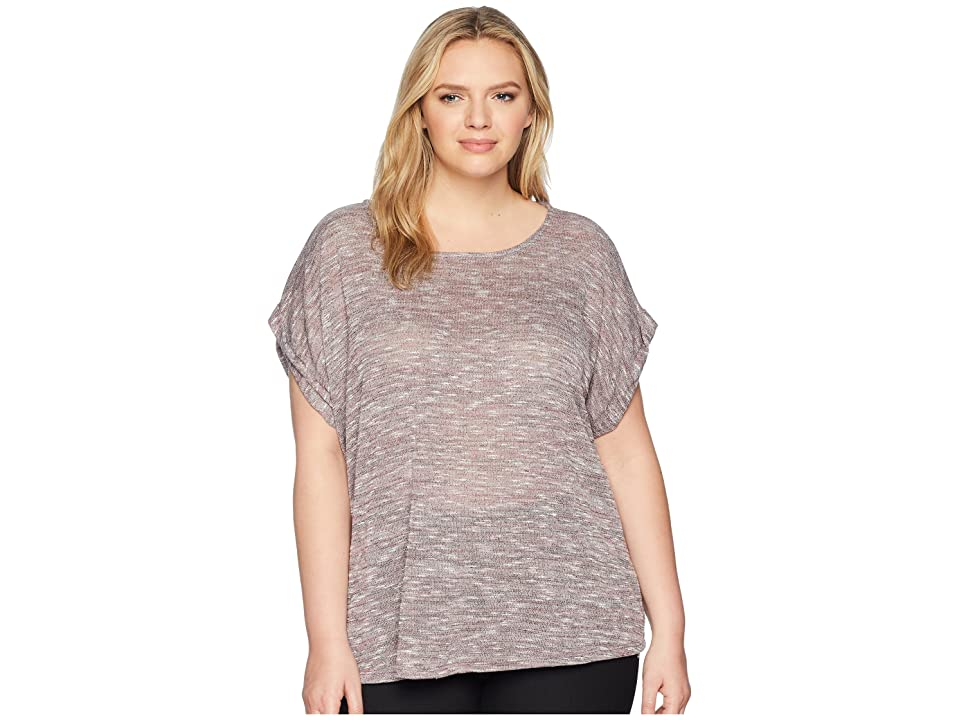 B Collection by Bobeau Plus Size Mia Sweater Knit Tee (Mauve Mix) Women