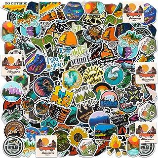 200 Pieces Outdoor Adventure Stickers Waterproof Travel Wilderness Decals Outdoor Hiking Camping Vinyl Stickers for Laptop...