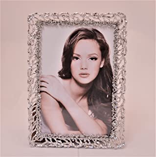 Ciel Collectables Aylena Picture Frame Silver with Clear Swarovki Crystal, Holds 4 x 4, 4 x 6 Pictures