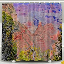 ROOLAYS Shower Curtain, Christmas Grand Canyon Canyon Carved by The River Rim are Contained Within National Park Waterproof Decorative 72X72 Inch Bathroom Fabric Shower Curtains,Yellow Green
