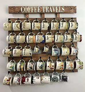 Rustic wood coffee cup rack 40 or 48 mug hooks XL You are here mug collection display