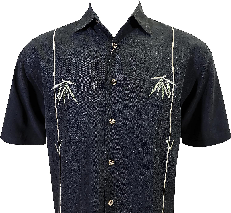 Bamboo Cay Men's Short Sleeve Dual Bamboos Casual Hawaiian Shirt