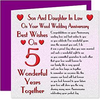 Son & Daughter in Law 5th Wedding Anniversary Card - On