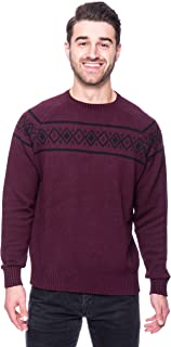 Noble Mount Tocco Reale Gift Packaged Men's 100% Cotton Crew Neck Sweater with Fair Isle Stripe