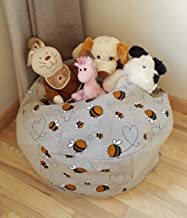 Stuffed Animal Storage Bean Bag Chair for Kids and Toddlers, Natural Linen Fabric Handmade Pouf Cover Bumblebee, Toys Hammock Organizer