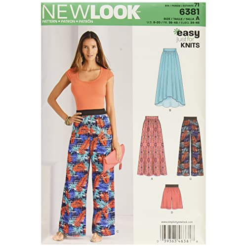 acaab473ed34e New Look 6381 Size A Misses' Knit Skirts and Pants or Shorts Sewing Pattern,