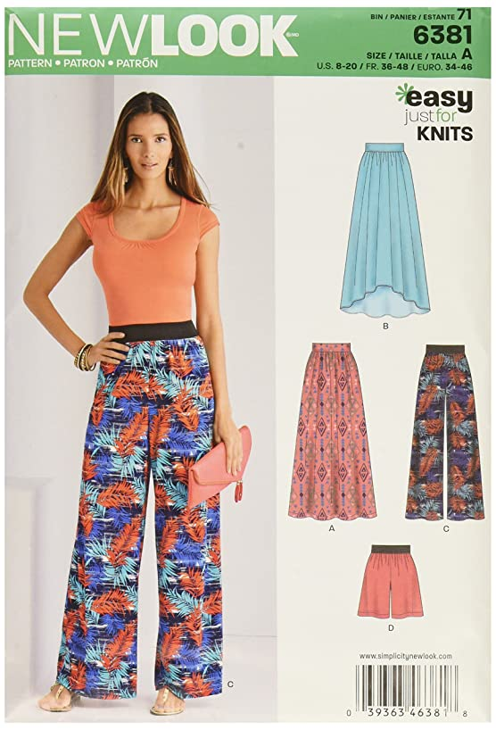 New Look 6381 Misses' Knit Skirts and Pants or Shorts Sewing Kit, Size A (8-10-12-14-16-18-20)