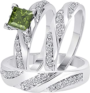 Star Retail 2.00 Carat (Ctw) Synthetic Green Tourmaline Princess Cut & Round CZ Diamond 14k Black Gold Over Engagement His & Her Wedding Engagement Trio Ring Set In Express Shipping