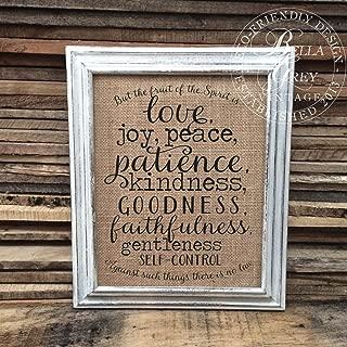 Fruit of the Spirit Sign Love Joy Peace Patience Kindness Faithfulness Galatians 5 2223 Christian Burlap Cotton Print Scripture Verse Frame NOT included