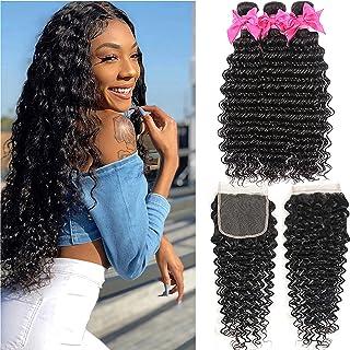Aatifa Brazilian Deep Wave 3 Bundles With Closure Human Hair Extensions Virgin Hair Bundle Deals With Closure (10 12 14+10,lace closure)