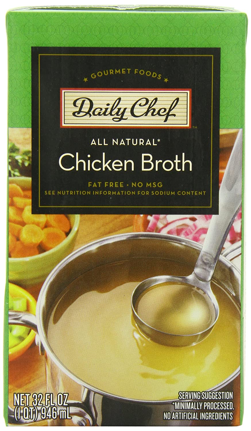 Daily Chef All Natural Chicken Broth, 1 Quart, 6 Count