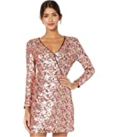 ML Monique Lhuillier - Multicolored Sequined Long Sleeve Dress