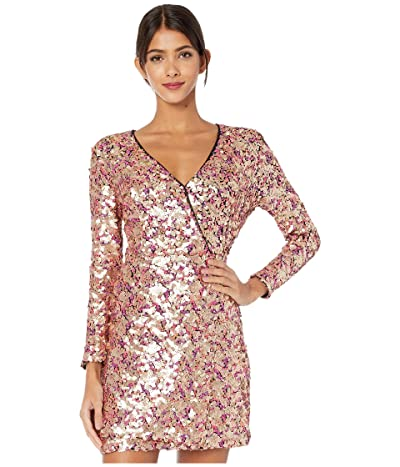 ML Monique Lhuillier Multicolored Sequined Long Sleeve Dress (Gold Multi) Women