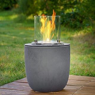 muenkel design Vigo – betongrijs – bio-ethanol haard tuinfakkel terrasvuur met ronde brander 250 verbrandingskamer