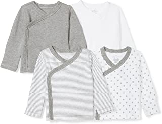 Moon and Back Baby Set of 4 Organic Long-Sleeve Side-Snap Shirts