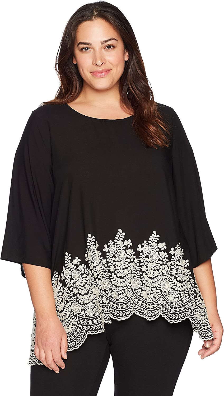 Karen Kane Women's Plus Size Embroidered 3 4 Sleeve Top