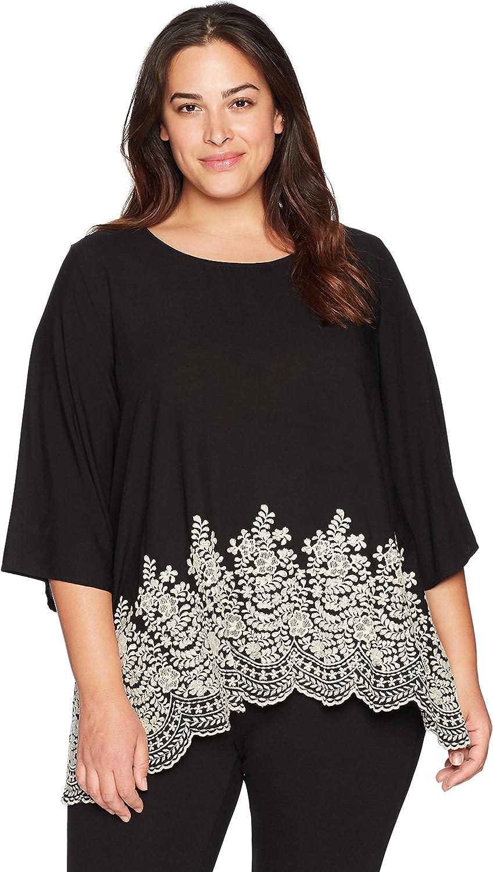 Karen Kane Womens Plus Size Embroidered 3 4 Sleeve Top Blouse