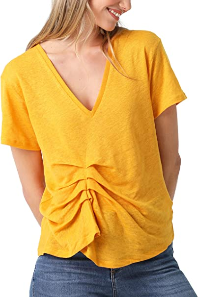 Scalpers Camiseta Lino FRUNCE - Camiseta para Mujer, Talla M ...