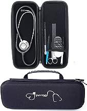 Esimen Carry Case for 3M Littmann Lightweight II S.E. 3M Littmann Classic III 5870 Classic III Stethoscope Travel Bag,Extra Room for Taylor Percussion Reflex Hammer and Reusable LED Penlight (Black)