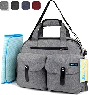 JOIE BEAN Tote Diaper Bag for Mom, Dad | Large Messenger Baby Bag with Shoulder Strap, Changing Mat, Insulated Pockets, Stroller Straps | Multi-Function Organizer Maternity Bag for Travel (Light Grey)