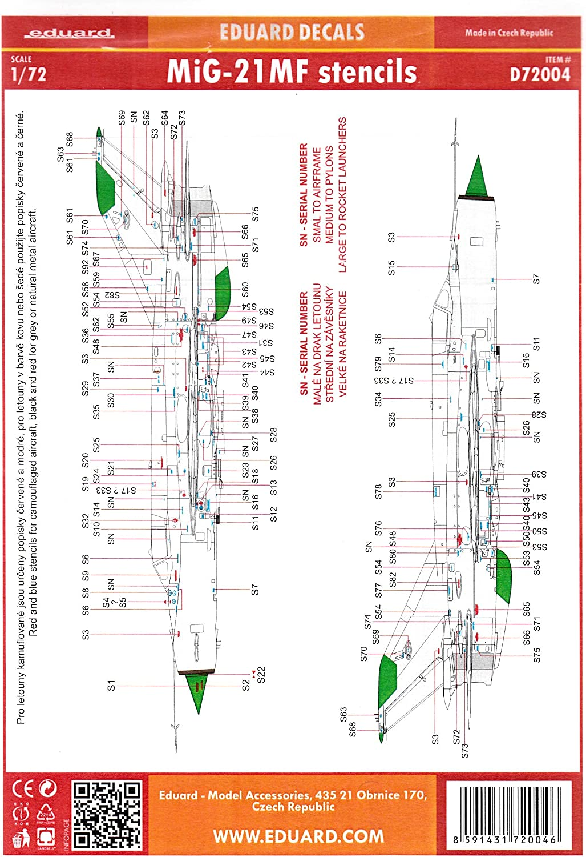 Eduard Decals 1 72 - MiG-21MF Stencils B00BCLSHY2 Smart    Neues Produkt