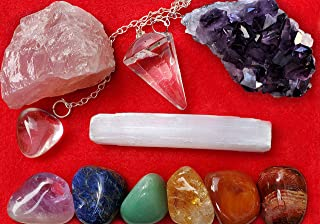 Healing Energy Set - Chakra Crystals and Healing Stones Gift Set - Includes Amethyst Crystal, Rose Quartz, Clear Quartz and Selenite Crystals, Pendulum & 7 Chakra Gemstones Kit - Detailed How-To Ebook