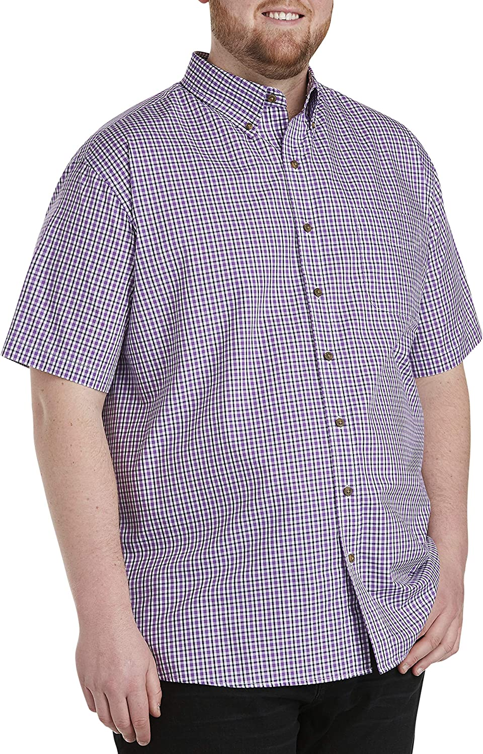 Harbor Bay by DXL Big and Tall Easy-Care Small Plaid Sport Shirt, Purple