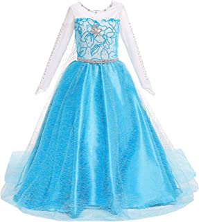 BanKids Princess Costume Birthday Party Dress Up for Little Girls with Wig,Crown,Wand,Gloves Accessories 3-10 Years