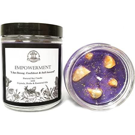 Heal My Heart Soy Affirmation Candle: 8 oz with Rose Quartz /& Seraphinite Crystals Loss /& Heartache for Wiccan Pagan Magic Spells /& Rituals Herbs and Essential Oils for Grief Sadness