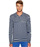 Missoni - Fiammato Rigato Long Sleeve Knit Polo