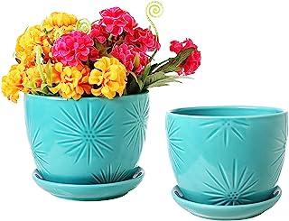 Best MyGift Aqua Sunburst Design Ceramic Flower Planter Pots, Decorative Plant Containers with Saucers, Set of 2 Review