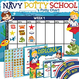 Potty Training Chart for Toddlers - Sea Design - Sticker Chart - 4 Week Reward Chart - 214 Cute Stickers, Certificate, Ins...