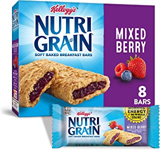 Kellogg's Nutri-Grain Soft Baked Mixed Berry Breakfast Bars - School Lunchbox Snacks, Individual Wrapped Bars (Pack of 6, ...